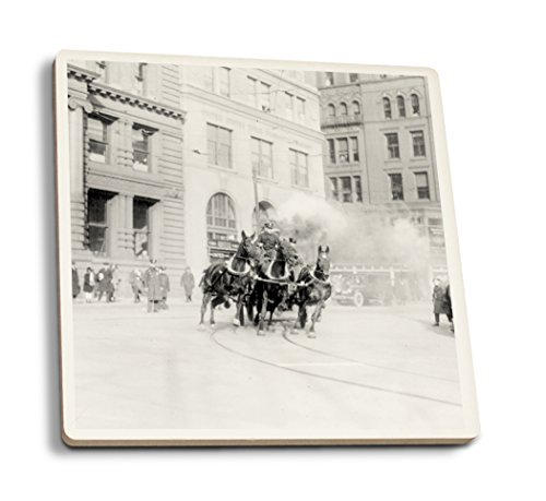 Lantern Press NYC Fire Department's Horse Drawn Engine - Vintage Photograph (Set of 4 Ceramic Coasters - Cork-Backed, Absorbent)