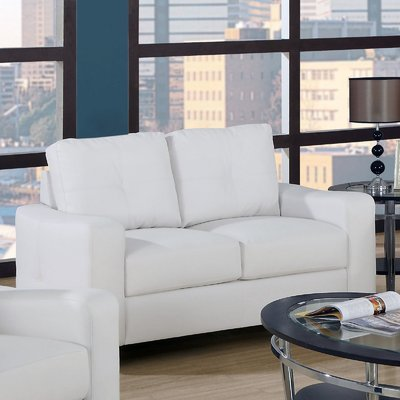 Monarch Specialties Bonded Leather Love Seat, White