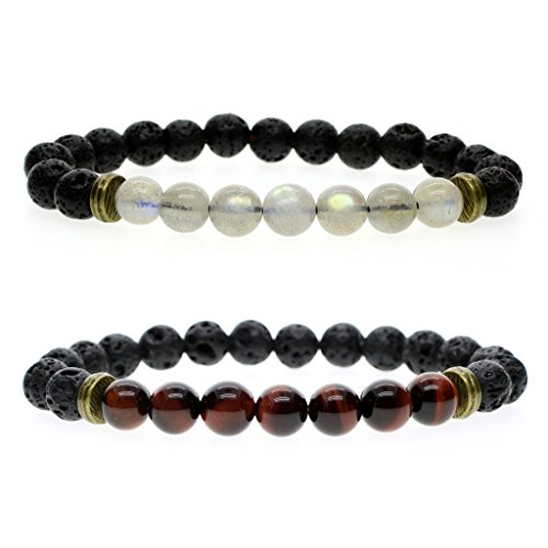 Price comparison product image AmorWing 8mm Natural Stone Lava Beads for Essential Oil With Labradorite / Tiger Eye Bracelet (2 Pack) S