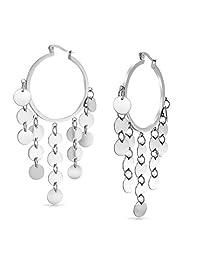 Bling Jewelry Bohemian Disc Dangle Chandelier Stainless Steel Hoop Earrings