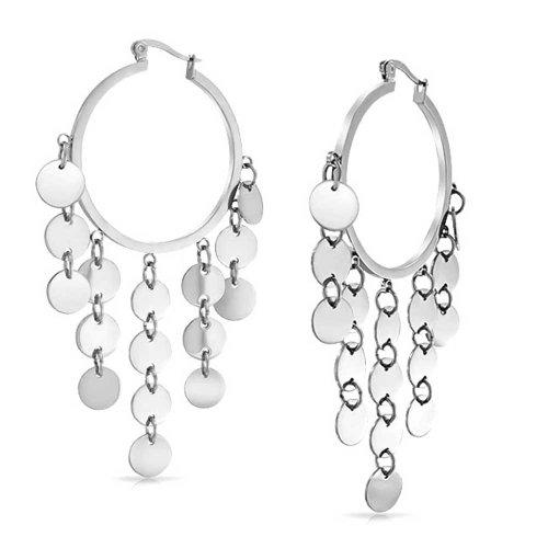 Bohemian Sequin Coin Disc Dangle Chandelier Round Hoop Chandelier Earrings For Women Silver Tone Stainless Steel 3Inch (Hoop Dangle Chandelier Earrings)