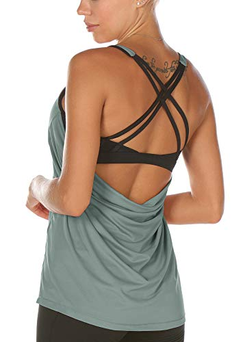 - icyzone Workout Tank Tops Built in Bra - Women's Strappy Athletic Yoga Tops, Exercise Running Gym Shirts (M, Dusk Blue)