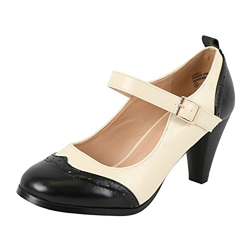 (Chase & Chloe Dora-2 Women's Round Toe Two Tone Mary Jane Pumps (7 B(M) US, Black/White) )