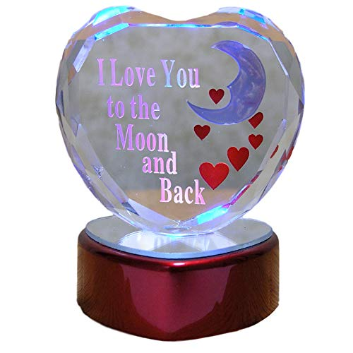 48342f13bd6a BANBERRY DESIGNS I Love You to The Moon and Back Glass Heart - LED Color  Changing