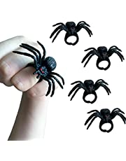 Spider Rings Halloween Party Favors, 24 Pcs 1.9in Black Plastic Spider Rings with Red Eye for Kids Costume Accessories Halloween Spider Party
