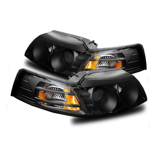 SPPC Projector Headlights Black Assembly for Ford Mustang - (Pair) Includes Driver Left and Passenger Right Side Replacement Headlamp 04 Ford Mustang Projector Headlights
