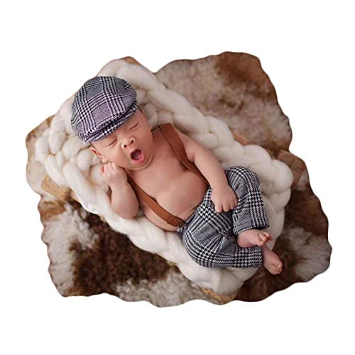 Coberllus Newborn Monthly Baby Photo Props Stripe Cool Boys Cap Rompers Photography (Grey) -