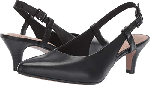 (CLARKS Women's Linvale Loop Pump, Black Leather, 085 M US)