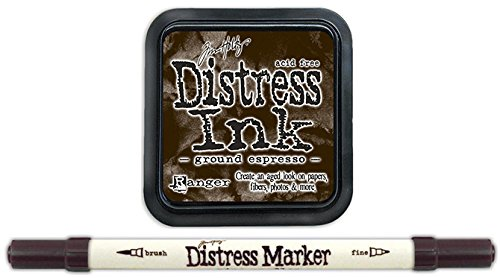 Tim Holtz Ranger Distress 2015 Color of the Month Ink Pad and Marker Bundle - 2 Items (August - Ground Espresso)