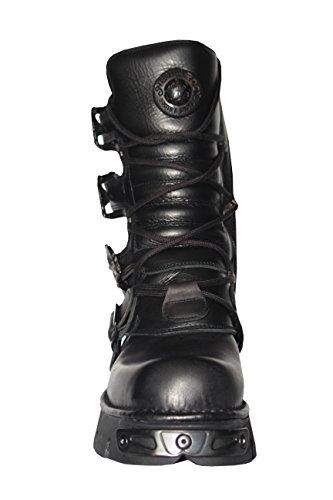 New Rock Unisex Schwarz Metallic Reactor der PunkGoth Biker Unisex schwarze Stiefel mit Spitze ups und mit seitlichem Rei§verschluss