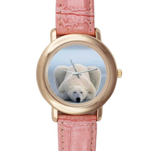 Gifts for Girls/Ladies Funny Polar Bear Pink Leather Alloy Watch