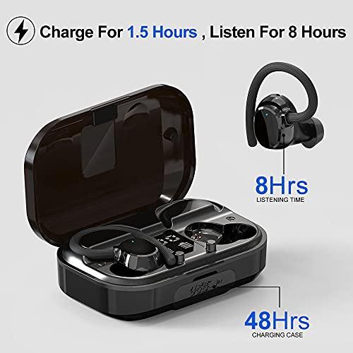 Judneer Cuffie Bluetooth Wireless Sport, Auricolari Bluetooth 5.0 Senza Fili, 56 Ore di Utilizzo, Hi-Fi Stereo Cuffie in Ear con Display LCD IPX7 Impermeabile Custodia Di Ricarica Portatile Fitness