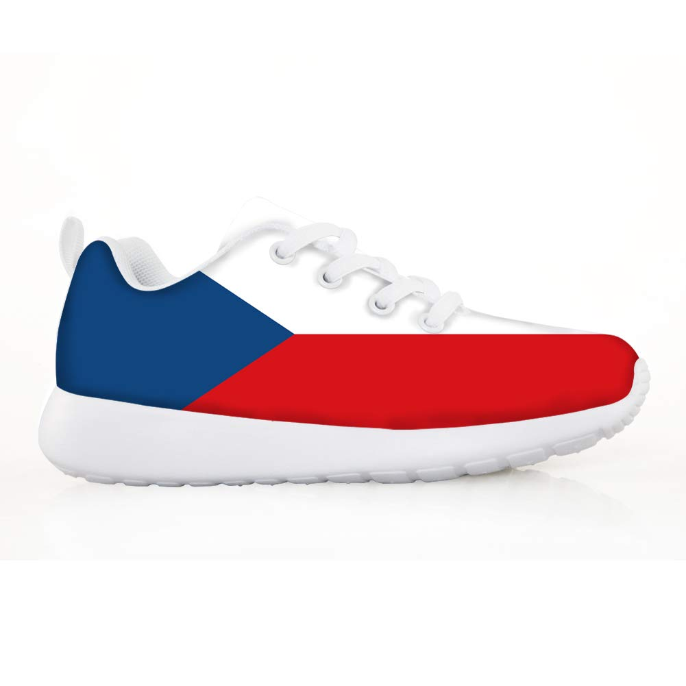 Owaheson Boys Girls Casual Lace-up Sneakers Running Shoes Czech Flag