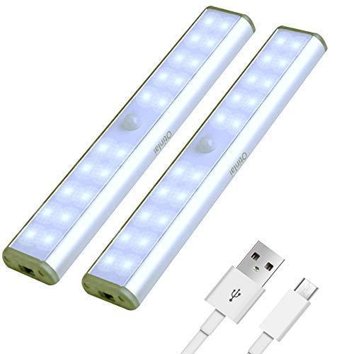 Under Cabinet Lights, 20 LED Motion Sensor Lights, Night Light,Led Battery Lights,Motion Led Light Bar, USB Rechargeable Magnet LED Lights Stick on Anywhere Otinlai (Silver 20 LED 2 Pack) ()
