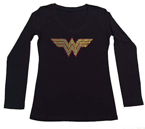 Women's T-Shirt with Wonder Woman in Rhinestones (1X, Black Long Sleeve)]()