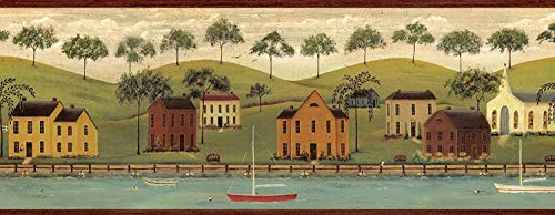 Wallpaper Border American Folk Art Village Harbor with Burgandy Trim ()