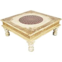 Rajasthani Handpainted Wooden Decorative Bajot Table 15 X 15 x 6.5 Inches