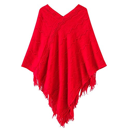 Price comparison product image Women's Batwing Tassels Poncho Cape Winter Knit Sweater Cloak Hoodie Ponchos (red)