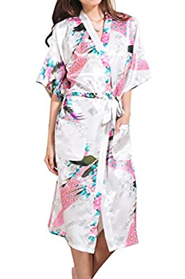 Asherbaby Women's Peacock Printed Kimono Long Bridesmaid Robes Satin Bathrobe