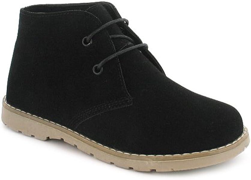 fdd87b226075c New Boys/Childrens Black Suede Effect Lace Up Desert Boots. - Black - UK 5