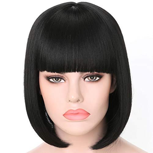 Junbeauty Black Short Bob Wigs 12