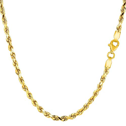 14K Yellow or White Gold 3.00mm Shiny Diamond-Cut Royal Rope Chain Necklace for Pendants and Charms with Lobster-Claw Clasp (7'', 8'', 16'', 18'', 20'' 22'', 24'' or 30 inch) by The Diamond Deal (Image #3)