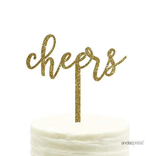 Andaz Press Party Acrylic Cake Toppers, Gold Glitter, Cheers, 1-Pack, New Years Decor 2018 2019 2020 -