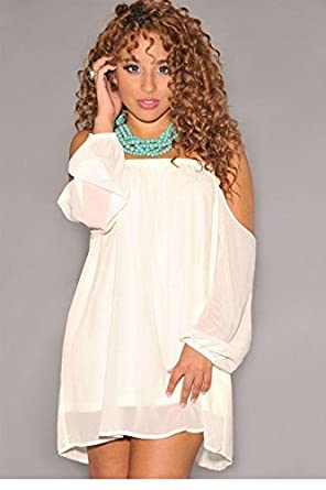 Vestido De Renda Curto Ivory Off-The-Shoulder Long Sleeves Mini Dress LC21703 Mulheres