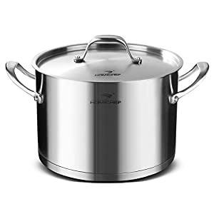 HOMI CHEF Matte Polished NICKEL FREE Stainless Steel 8 QT Stock Pot with Lid (No Toxic Non Stick Coating, Straight Sided) - Induction Cookware - Stock Pots Stainless Steel - Cookware Set