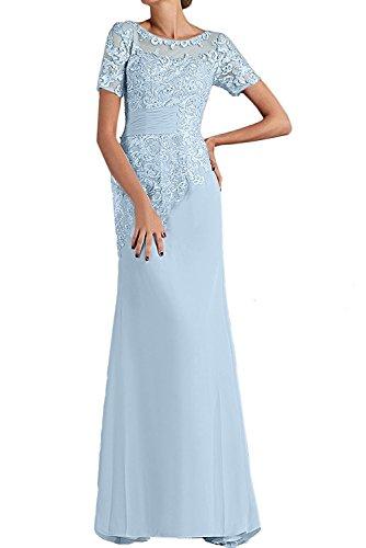 Festlichkleider mia mit Abschlussballkleider Gruen Braut Himmel Ballkleider Etuikleider Kurzarm Abendkleider La Lang Chiffon Minze Blau znpdxSqzwR