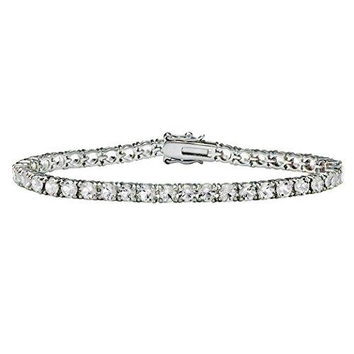 (Lux Silvertone Round Simulated Birthstone Tennis Bracelet 7