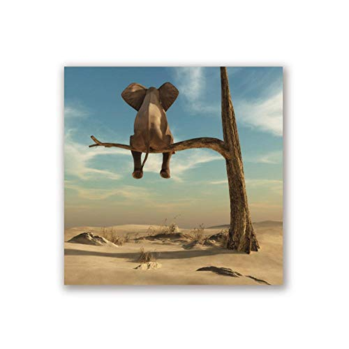 - dayanzai Elephant Stands On Tree Branch Canvas Art Print Wall Picture, Surrealism Canvas Painting Art Poster Home Decor 40X40Cm No Frame