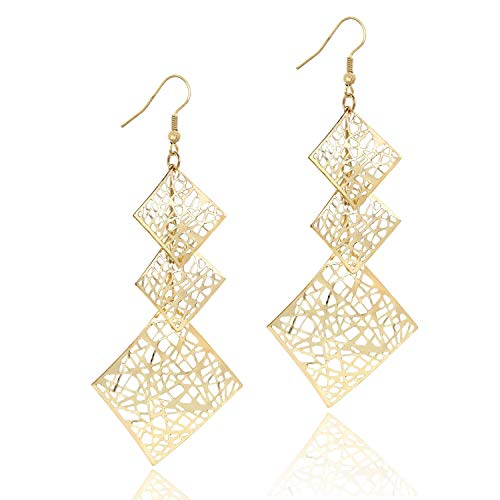 14K Gold Women's Chandelier Filigree Geometric Rhombus Earrings Hollow Cutout Drop Dangle Long Earrings for Girls