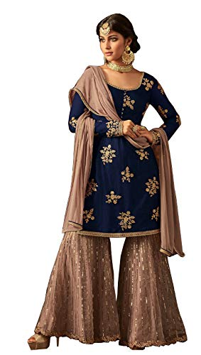 (London Collection Indian Pakistani Bollywood Designer Women Ethnic Wear Salwar Kameez Salwar Suit (Nevy Blue, 16(Large)))