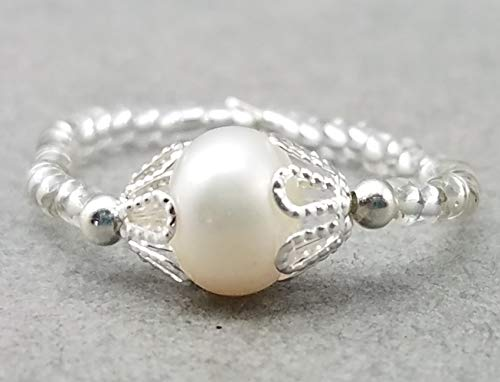 White Freshwater Pearl and Silver Crystal Stretch Ring, White, Ivory, Grey, Green, Brown, Pink Pearl Choices
