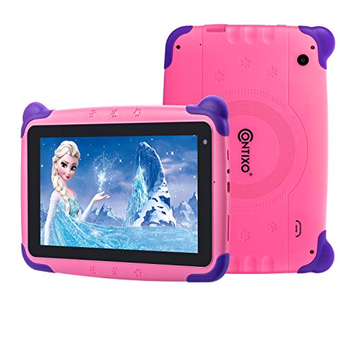 [Upgraded] Contixo K4 HD 7″ Kids Tablet with Durable Protection Case, Pre-Installed Games Android 6.0 Bluetooth WiFi Dual Cameras Parental Control for Children Pink