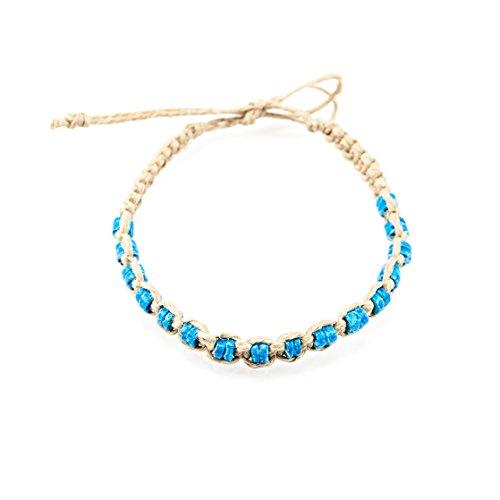 Hemp Anklet Bracelet with Blue Puka Clam Shell - Hemp Surfer