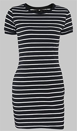 Sleeve Black Cromoncent Fit Womens Bodycon Mini Shirt T Slim Short Stripe Dress CwrXxPqw