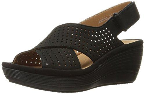 CLARKS Women's Reedly Variel Wedge Sandal, Black Nubuck, 10 M US