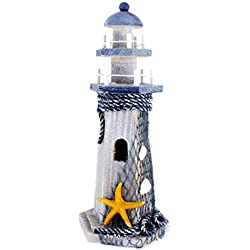 "Starfish Wooden Lighthouse 10"" High Nautical Themed Rooms Lighthouse Home Decor"
