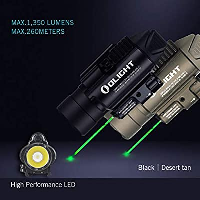OLIGHT Baldr Pro 1350 Lumens 260 Meters Beam Distance Tactical Weaponlight with 2 x CR123A Batteries (Black)