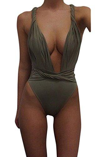 Kisscy Women's Deep V Neck Twisted Straps One Piece Monokini Swimsuit Army Green XL