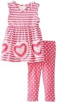 Bonnie Baby Baby-Girls Newborn Bonaz Hearts On Stripe Knit Top Multi Dots Capri