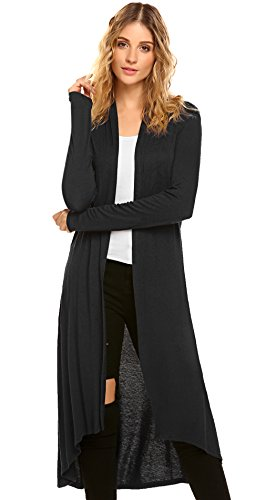SimpleFun Womens Long Open Front Lightweight Cardigan Sweaters (S, Black) (Sweater Coat Long)