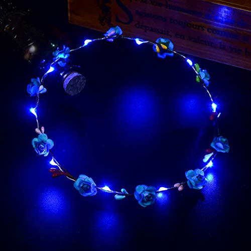 Glumes LED Flower Crown, Led Flower Wreath Headband Luminous LED Flower Headpiece Flower Headdress for Girls Women Wedding Festival Holiday Christmas New Year Party]()