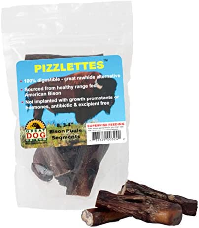 Great Dog Bison Pizzlettes – 8, 3-4 Inch Bully Sticks -Bully Sticks for Dogs Made in USA, No Hide Dog Chews, Grain Free Dog Treats, Healthy Dog Treats, Bully Sticks Odor Free, Pizzle Sticks for Dogs