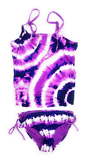Justice Big Girls' Swimsuits Tankini Bathing Suits Mult Sizes Colors (Purple Tie-Dye, 10) ()