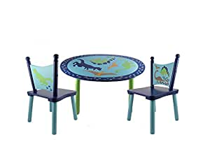 beriwinkle dinosaurs painted wood kids table and chair set home kitchen. Black Bedroom Furniture Sets. Home Design Ideas