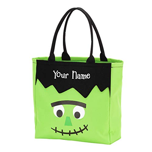 Personalized Monster Halloween Trick or Treat Candy Basket Reusable Tote Sack Bag - 12in x 12in x