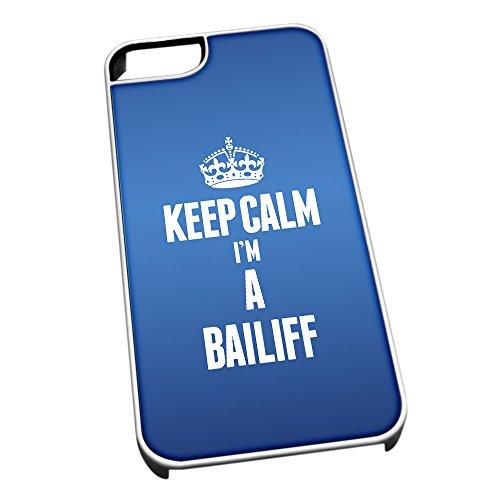 Bianco cover per iPhone 5/5S blu 2522Keep Calm I m A Bailiff